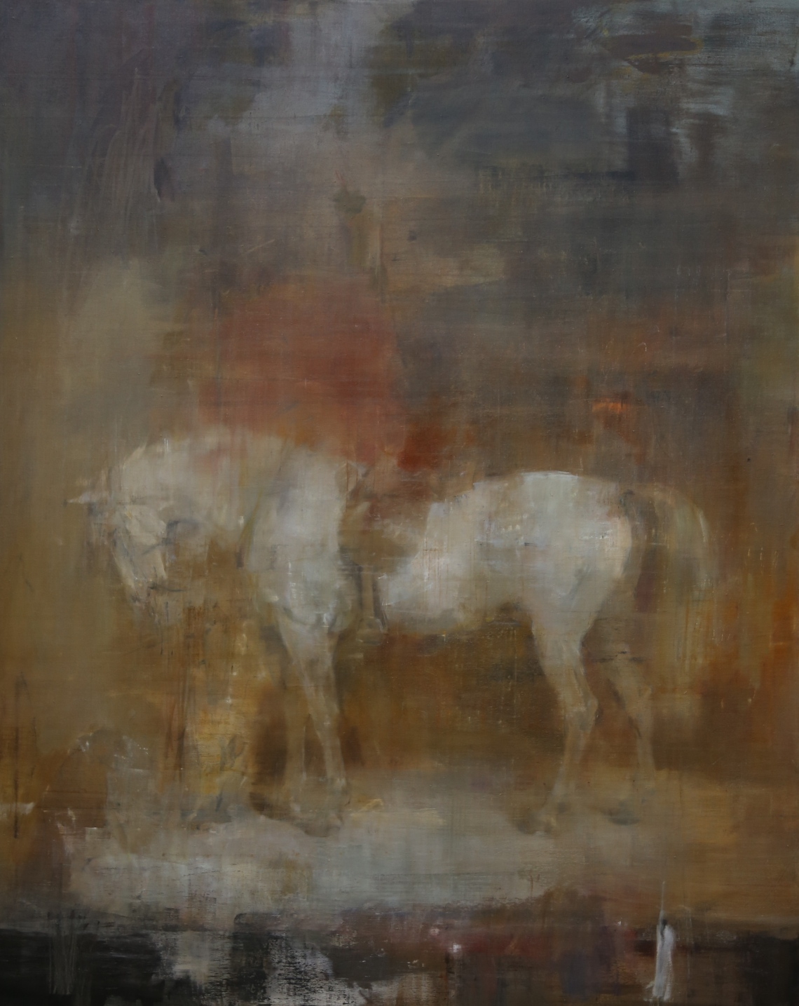 White horse in a stable, after Sir Edwin Henry Landseer, 200x160cm